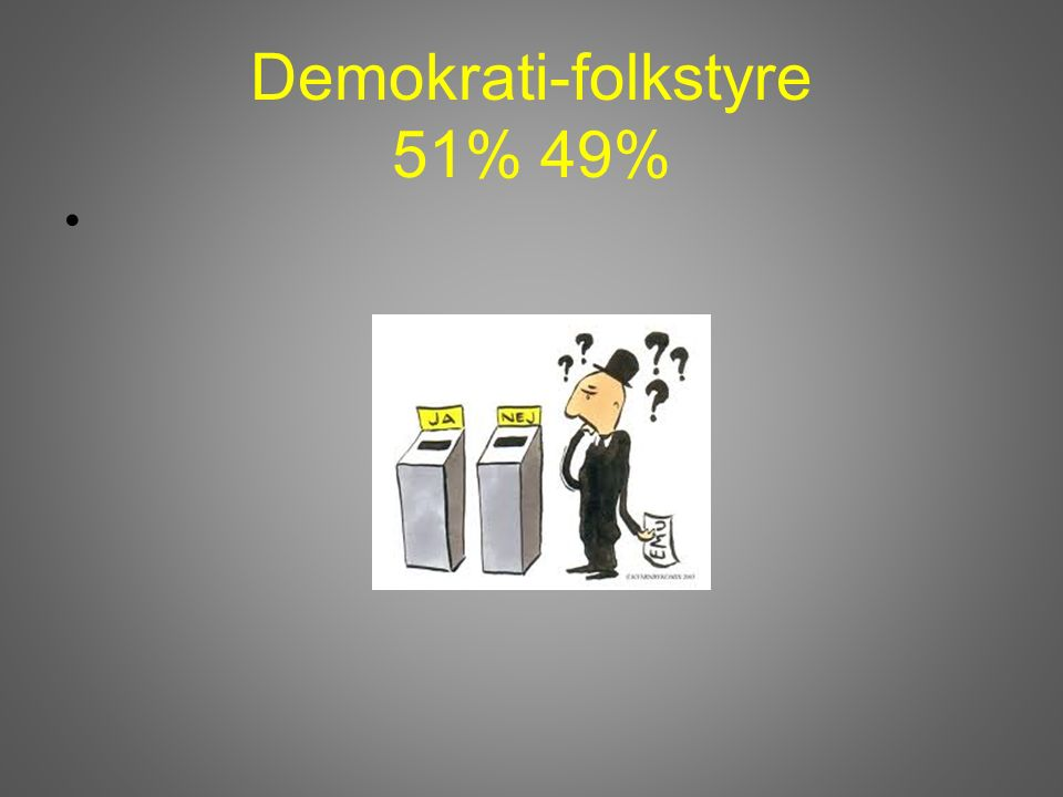 Demokrati-folkstyre 51% 49%