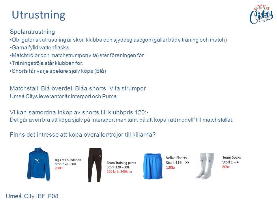 Spelarutrustning Obligatorisk utrustning är skor, klubba och sjyddsglasögon (gäller både träning och match) Gärna fylld vattenflaska.