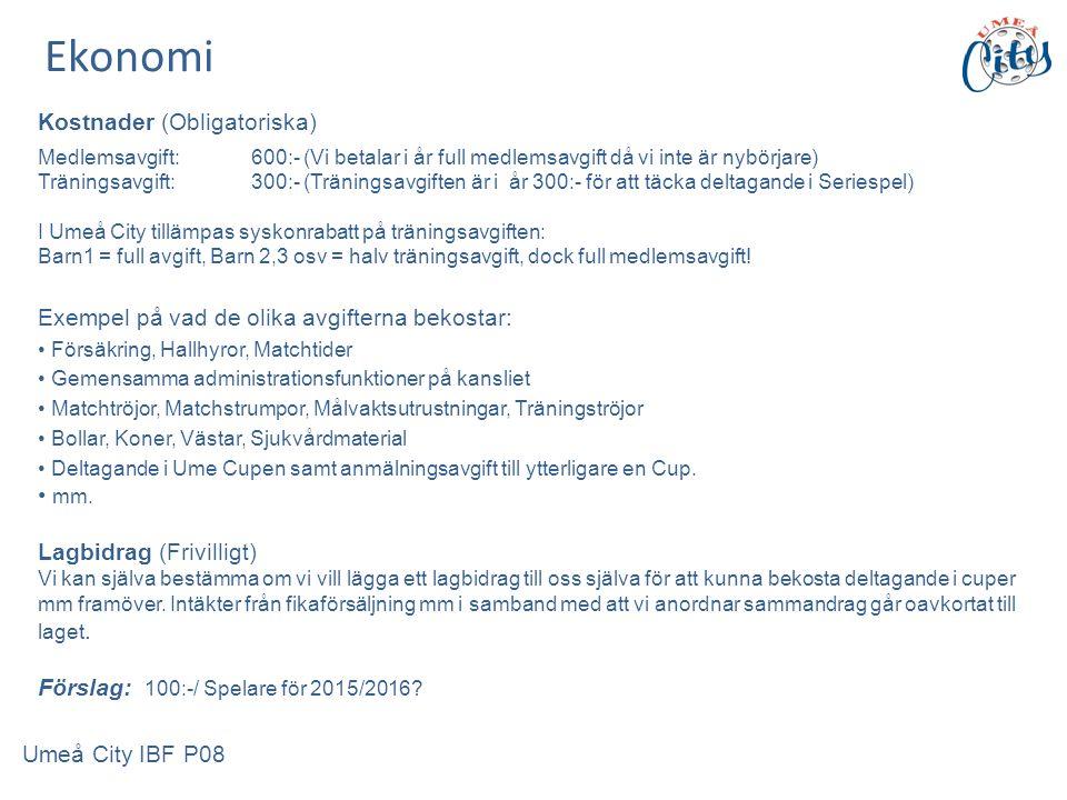 Kostnader (Obligatoriska) Medlemsavgift:600:- (Vi betalar i år full medlemsavgift då vi inte är nybörjare) Träningsavgift:300:- (Träningsavgiften är i år 300:- för att täcka deltagande i Seriespel) I Umeå City tillämpas syskonrabatt på träningsavgiften: Barn1 = full avgift, Barn 2,3 osv = halv träningsavgift, dock full medlemsavgift.