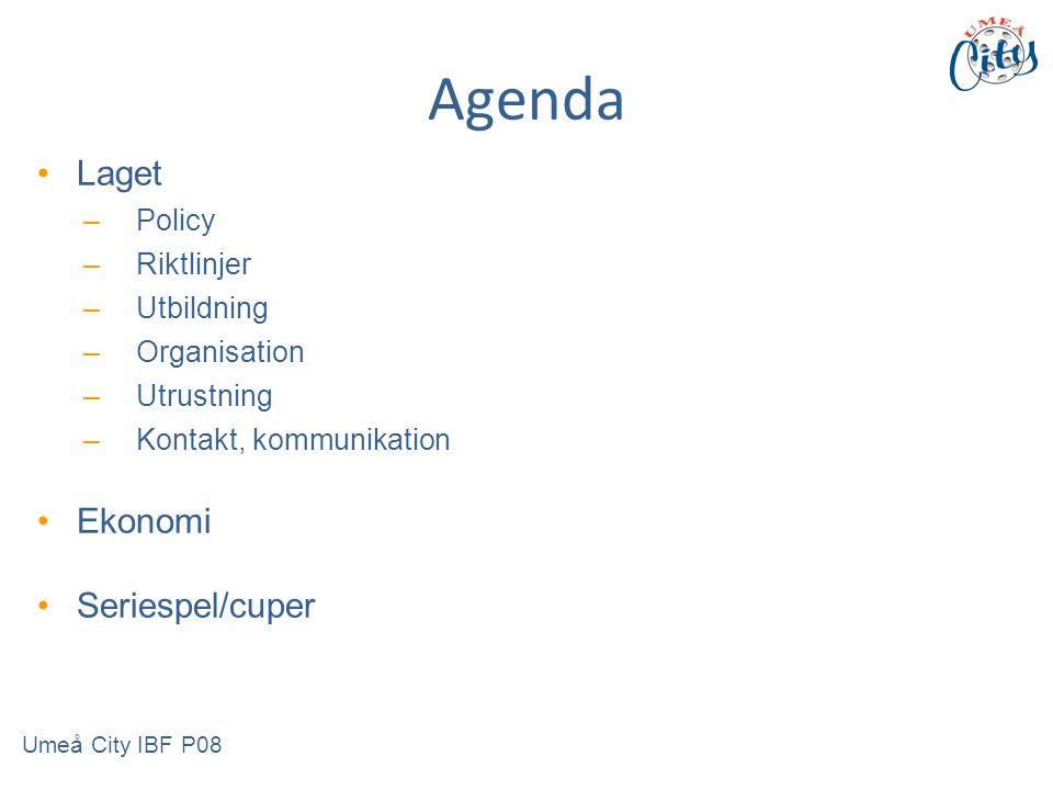 Agenda Laget –Policy –Riktlinjer –Utbildning –Organisation –Utrustning –Kontakt, kommunikation Ekonomi Seriespel/cuper Umeå City IBF P08