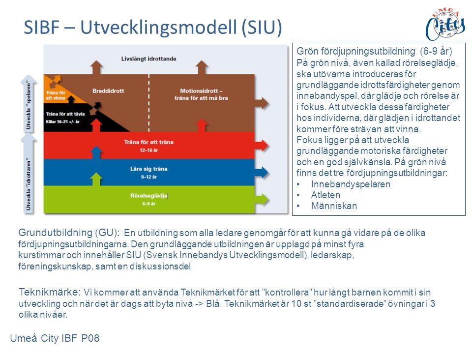 SIBF – Utvecklingsmodell (SIU) Grundutbildning (GU): En utbildning som alla ledare genomgår för att kunna gå vidare på de olika fördjupningsutbildningarna.