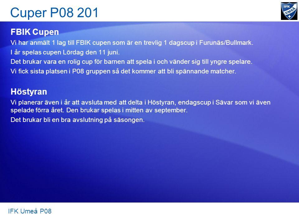 Cuper P08 201 IFK Umeå P08 FBIK Cupen Vi har anmält 1 lag till FBIK cupen som är en trevlig 1 dagscup i Furunäs/Bullmark. I år spelas cupen Lördag den