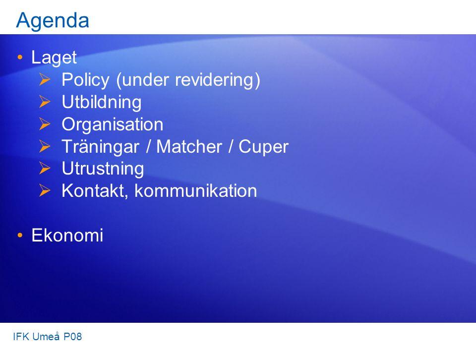 Agenda Laget  Policy (under revidering)  Utbildning  Organisation  Träningar / Matcher / Cuper  Utrustning  Kontakt, kommunikation Ekonomi IFK Umeå P08