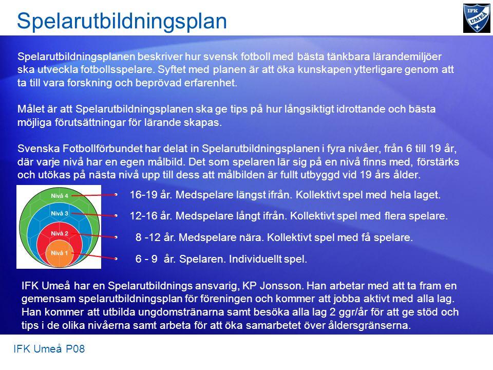 Spelarutbildningsplan Spelarutbildningsplanen beskriver hur svensk fotboll med bästa tänkbara lärandemiljöer ska utveckla fotbollsspelare. Syftet med