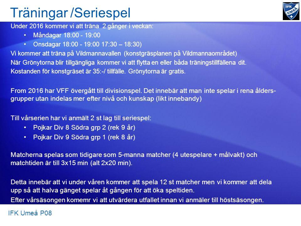 Träningar/Seriespel Under 2016 kommer vi att träna 2 gånger i veckan: Måndagar 18:00 - 19:00 Onsdagar 18:00 - 19:00 17:30 – 18:30) Vi kommer att träna på Vildmannavallen (konstgräsplanen på Vildmannaområdet) När Grönytorna blir tillgängliga kommer vi att flytta en eller båda träningstillfällena dit.