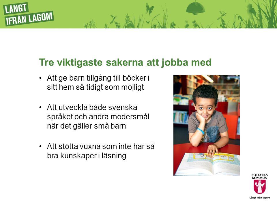 Tre viktigaste sakerna att jobba med Att ge barn tillgång till böcker i sitt hem så tidigt som möjligt Att utveckla både svenska språket och andra mod