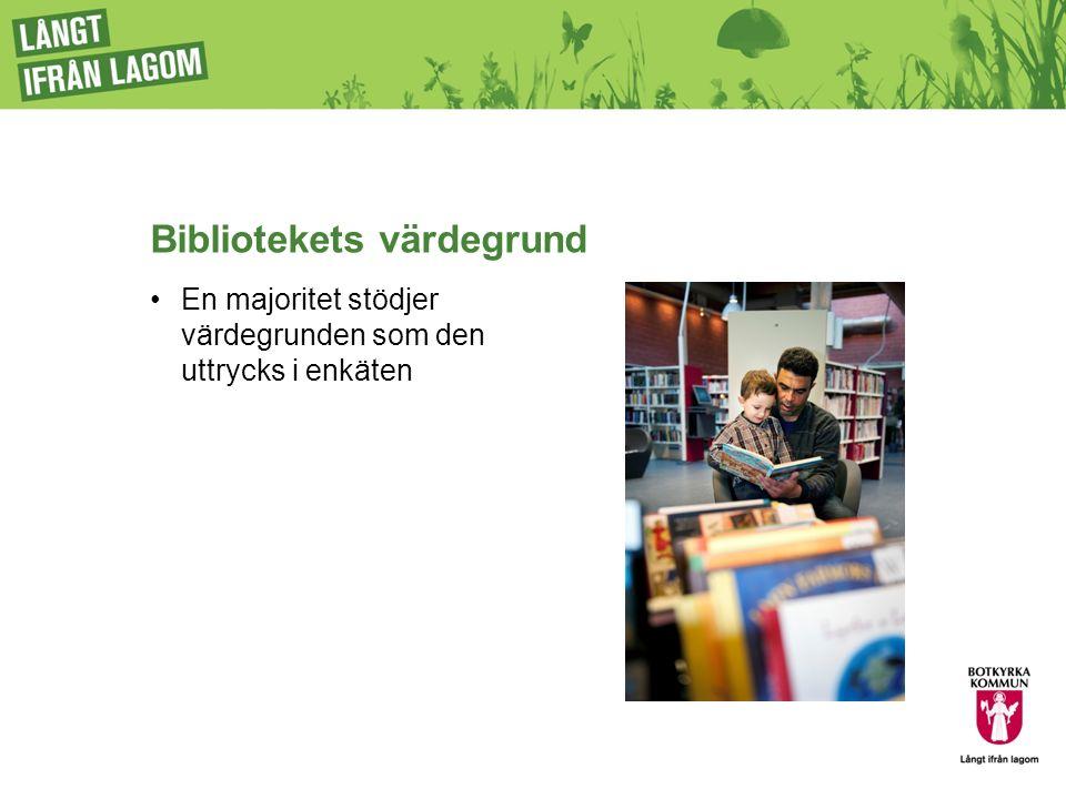 Bibliotekets värdegrund En majoritet stödjer värdegrunden som den uttrycks i enkäten