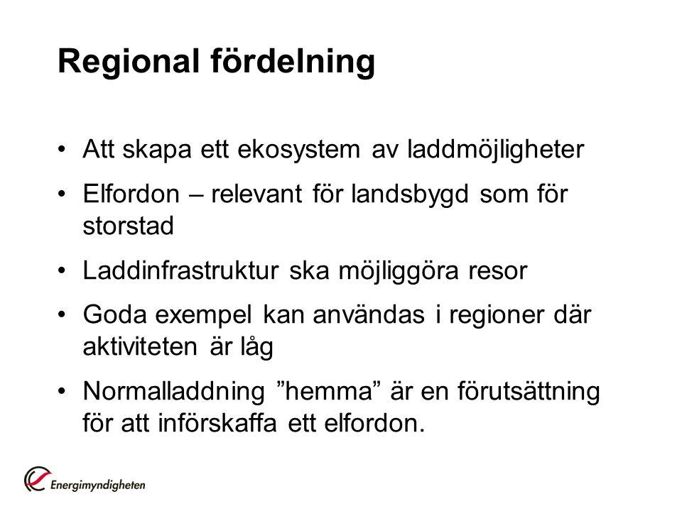 Regional fördelning Att skapa ett ekosystem av laddmöjligheter Elfordon – relevant för landsbygd som för storstad Laddinfrastruktur ska möjliggöra resor Goda exempel kan användas i regioner där aktiviteten är låg Normalladdning hemma är en förutsättning för att införskaffa ett elfordon.