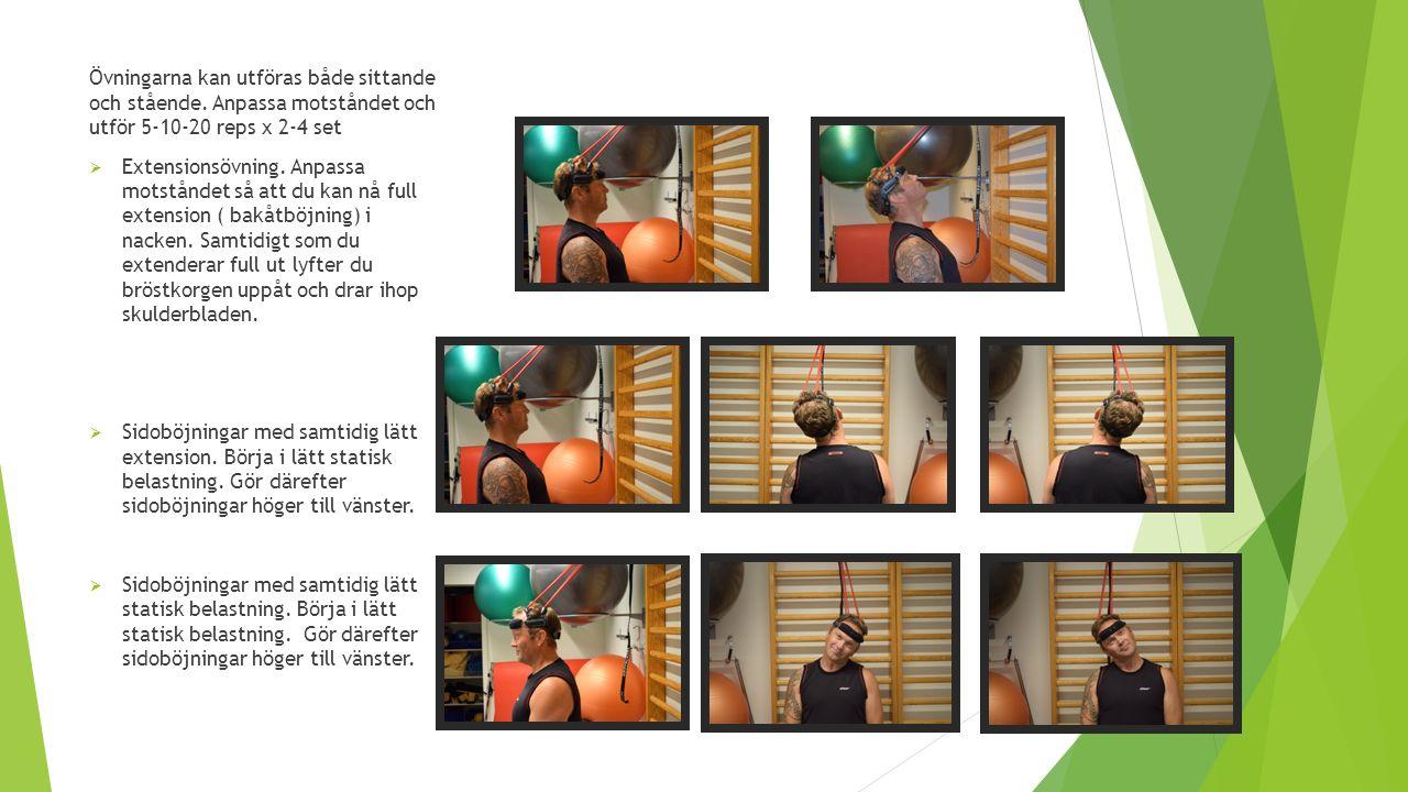 Övningarna kan utföras både sittande och stående. Anpassa motståndet och utför 5-10-20 reps x 2-4 set  Extensionsövning. Anpassa motståndet så att du