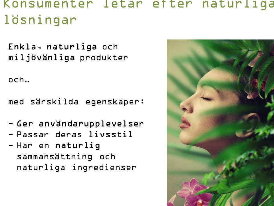 Enkla, naturliga och miljövänliga produkter och… med särskilda egenskaper: -Ger användarupplevelser -Passar deras livsstil -Har en naturlig sammansättning och naturliga ingredienser Konsumenter letar efter naturliga lösningar