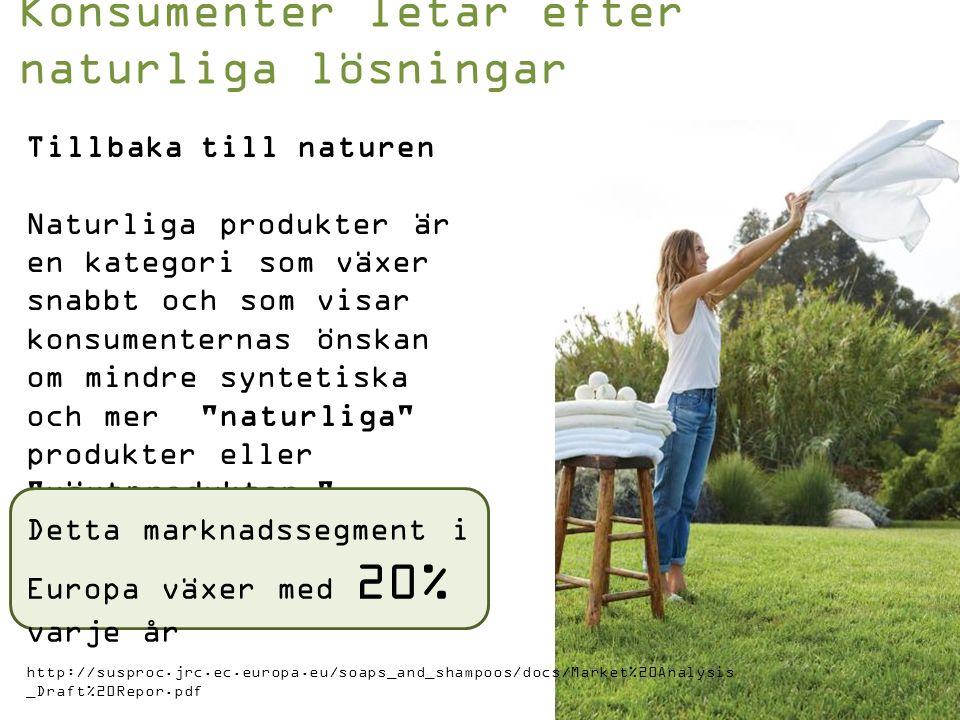 Tillbaka till naturen Naturliga produkter är en kategori som växer snabbt och som visar konsumenternas önskan om mindre syntetiska och mer naturliga produkter eller växtprodukter .