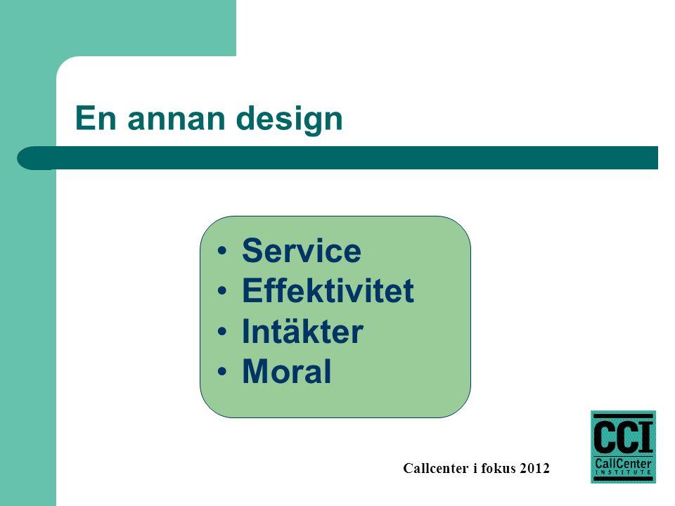 Callcenter i fokus 2012 En annan design Service Effektivitet Intäkter Moral