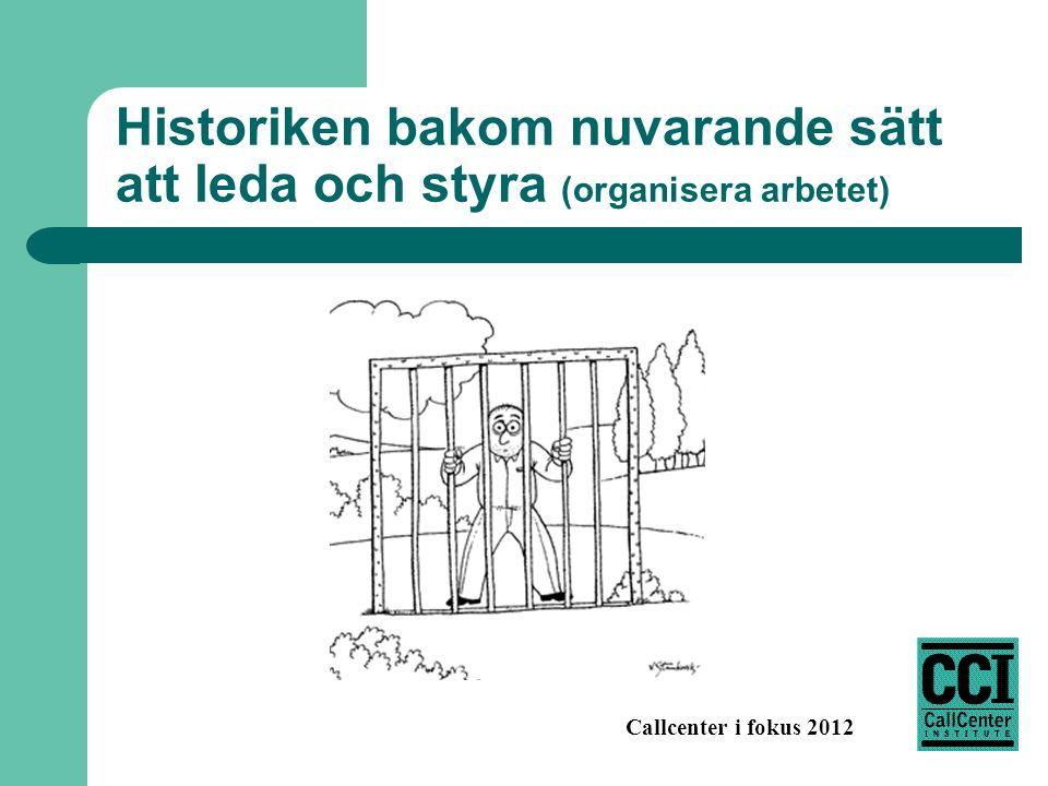 Callcenter i fokus 2012 Historiken bakom nuvarande sätt att leda och styra (organisera arbetet)
