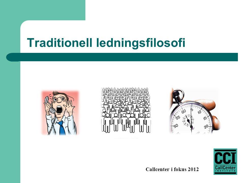 Callcenter i fokus 2012 Traditionell ledningsfilosofi