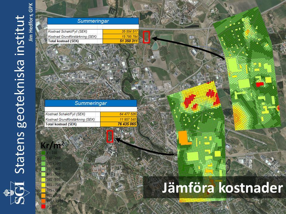Statens geotekniska institut Jämföra kostnader Kr/m 2 Jim Hedfors, GPK