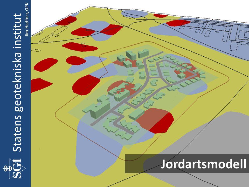 Statens geotekniska institut Förbered underlag Beräkna förstärknings- djup Beräkna Kostnader/ Generera 3D Beräkna förstärknings- metoder Vilkorsmatriser Med möjlighet att redigera förstärknings- metod Geoteknik GIS Jim Hedfors, GPK