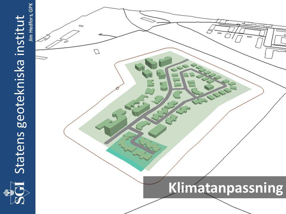 Statens geotekniska institut Geoteknik GIS Förbered underlag Beräkna förstärknings- djup Beräkna Kostnader/ Generera 3D Beräkna förstärknings- metoder CC-mått på pålar och KC-pelare Jim Hedfors, GPK