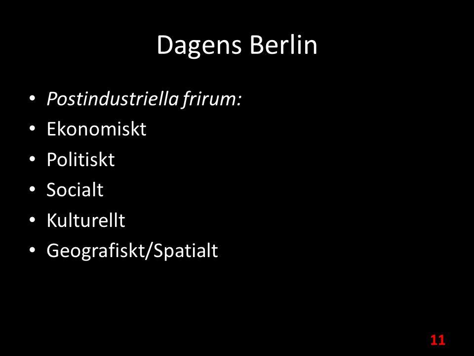 Dagens Berlin Postindustriella frirum: Ekonomiskt Politiskt Socialt Kulturellt Geografiskt/Spatialt 11