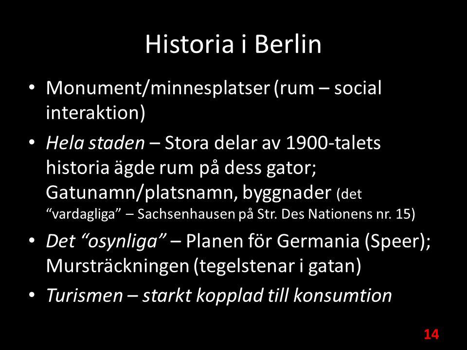 Historia i Berlin Monument/minnesplatser (rum – social interaktion) Hela staden – Stora delar av 1900-talets historia ägde rum på dess gator; Gatunamn/platsnamn, byggnader (det vardagliga – Sachsenhausen på Str.