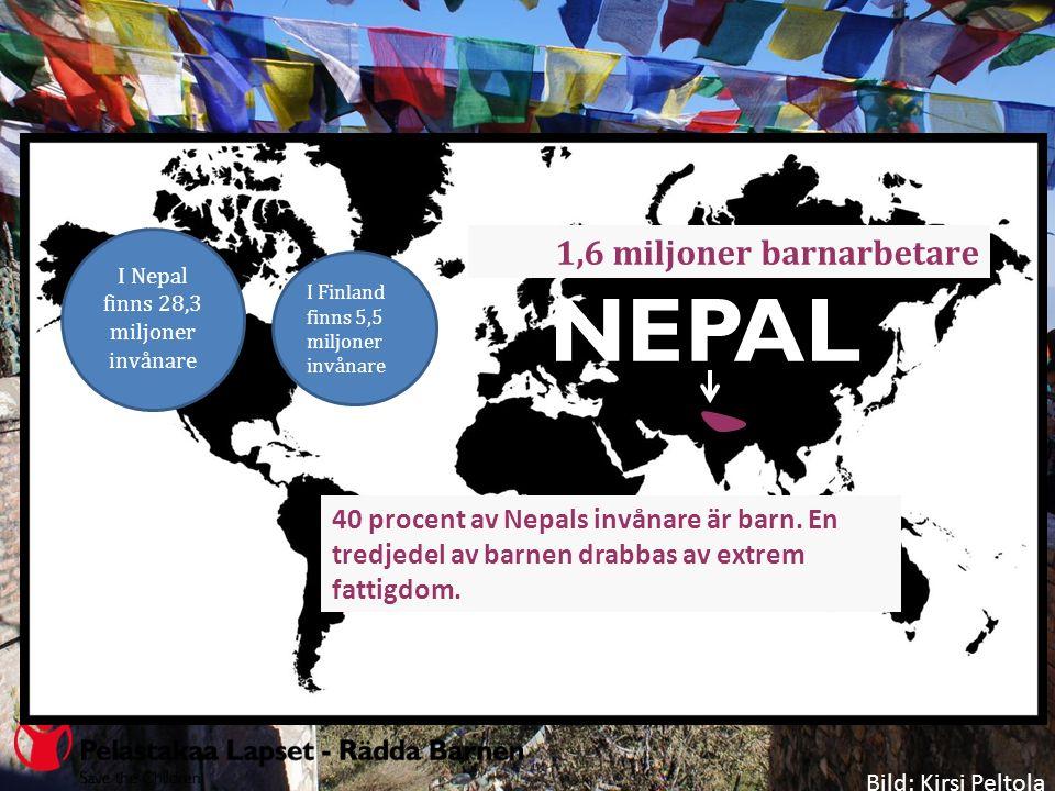 NEPAL I Nepal finns 28,3 miljoner invånare I Finland finns 5,5 miljoner invånare 1,6 miljoner barnarbetare Bild: Kirsi Peltola 40 procent av Nepals invånare är barn.