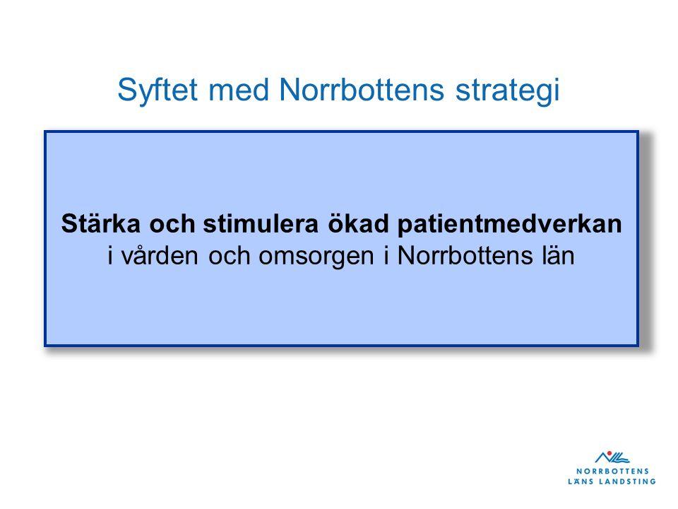Syftet med Norrbottens strategi Stärka och stimulera ökad patientmedverkan i vården och omsorgen i Norrbottens län