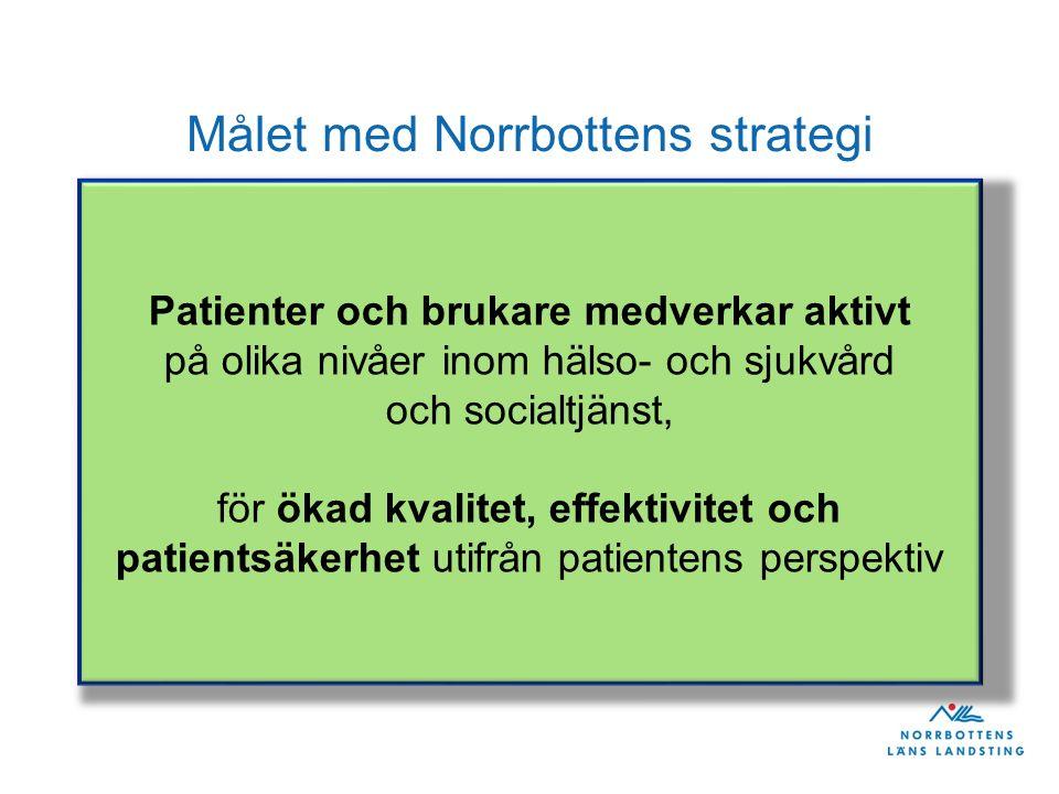 Målet med Norrbottens strategi Patienter och brukare medverkar aktivt på olika nivåer inom hälso- och sjukvård och socialtjänst, för ökad kvalitet, effektivitet och patientsäkerhet utifrån patientens perspektiv