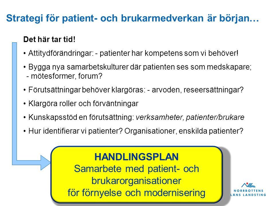 Strategi för patient- och brukarmedverkan är början… Det här tar tid.