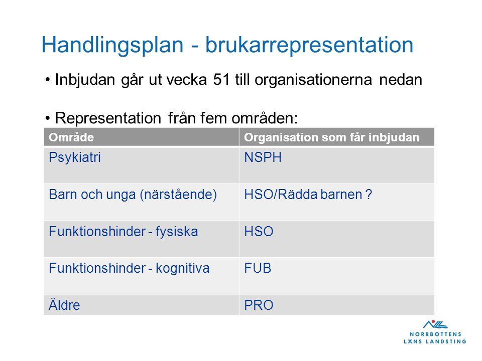 Handlingsplan - brukarrepresentation Inbjudan går ut vecka 51 till organisationerna nedan Representation från fem områden: OmrådeOrganisation som får inbjudan PsykiatriNSPH Barn och unga (närstående)HSO/Rädda barnen .