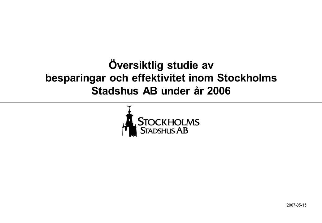 22 Stadshuskoncernens nio bolag har över perioden 2001-2006 sänkt sina indirekta kostnader med 140 MSEK Indirekta kostnader MSEK Förändring 20012006 SISAB4853+5(Verksamheten väsentligt utökad) Familjebostäder11092-18 Stockholmshem110103-7 Sv.