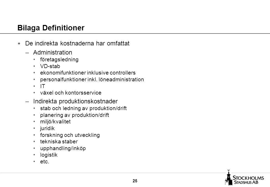 25 Bilaga Definitioner w De indirekta kostnaderna har omfattat –Administration företagsledning VD-stab ekonomifunktioner inklusive controllers personalfunktioner inkl.