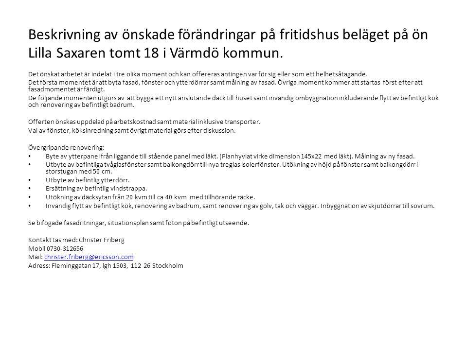 Beskrivning av önskade förändringar på fritidshus beläget på ön Lilla Saxaren tomt 18 i Värmdö kommun.