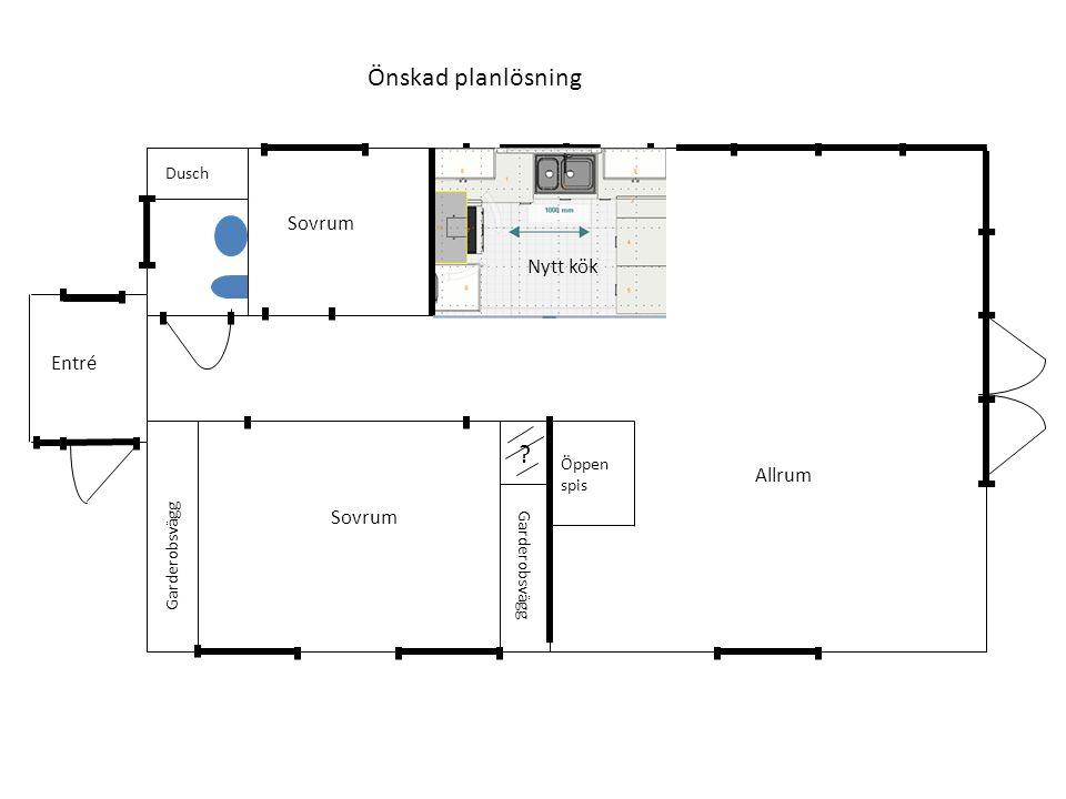? Garderobsvägg Dusch Öppen spis Önskad planlösning Nya fönster Ny ytterdörr Sovrum Allrum Entré Nytt kök