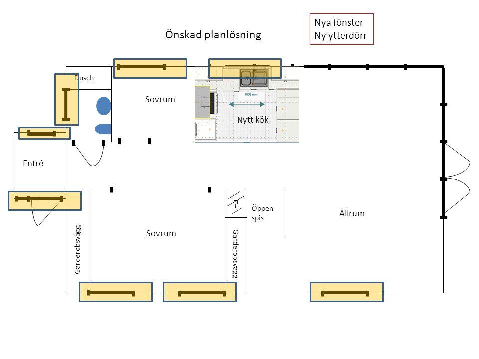 ? Garderobsvägg Dusch Öppen spis Önskad planlösning Fönsterparti med höga fönster Balkongdörrar mot däck Sovrum Allrum Entré Nytt kök