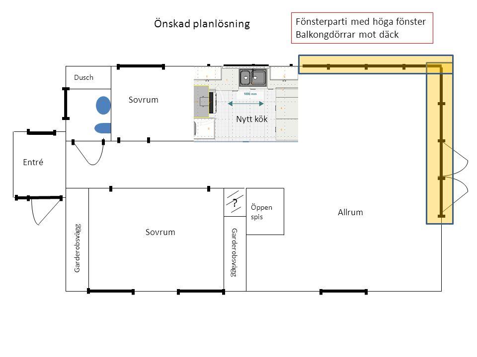 Garderobsvägg Dusch Öppen spis Önskad planlösning Fönsterparti med höga fönster Balkongdörrar mot däck Sovrum Allrum Entré Nytt kök