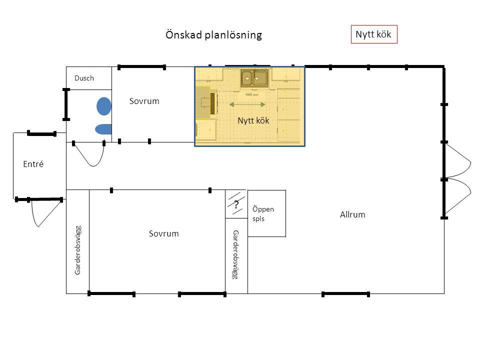 ? Garderobsvägg Dusch Öppen spis Dragdörrar infällda i väggarna Nytt kök Önskad planlösning Sovrum Allrum Entré