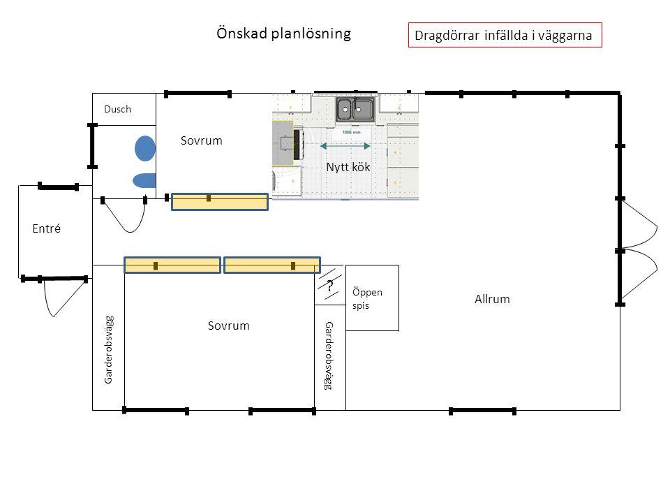 Garderobsvägg Dusch Öppen spis Dragdörrar infällda i väggarna Nytt kök Önskad planlösning Sovrum Allrum Entré