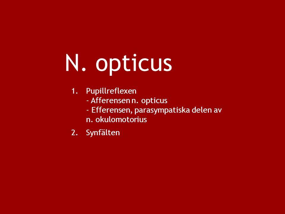 N. opticus 1.Pupillreflexen - Afferensen n. opticus - Efferensen, parasympatiska delen av n.