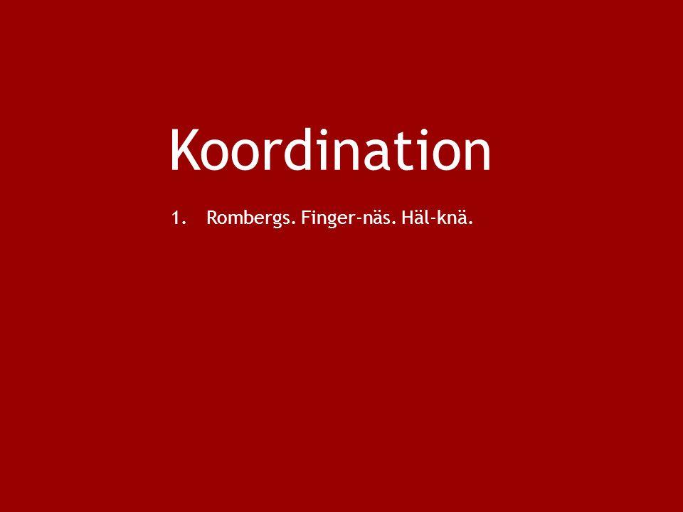 Koordination 1.Rombergs. Finger-näs. Häl-knä.