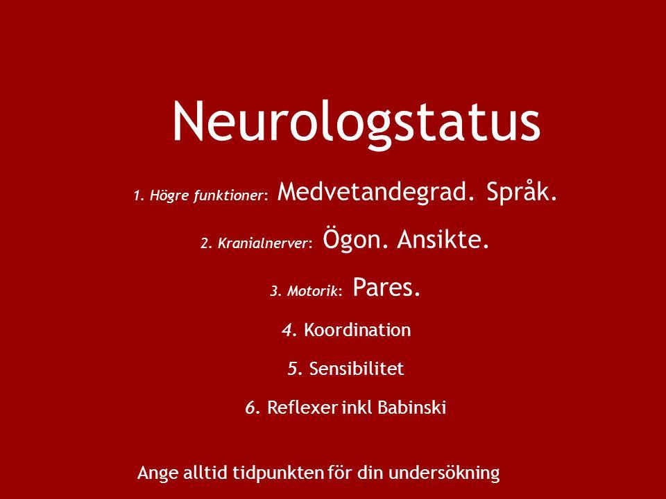 Neurologstatus 1. Högre funktioner: Medvetandegrad.