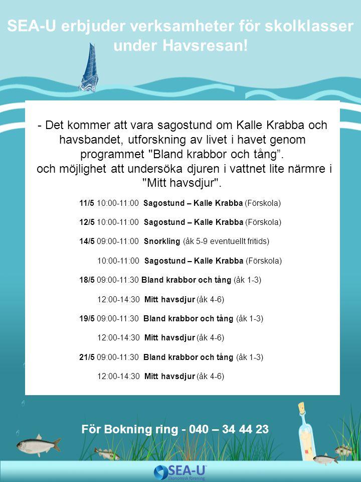 - Det kommer att vara sagostund om Kalle Krabba och havsbandet, utforskning av livet i havet genom programmet