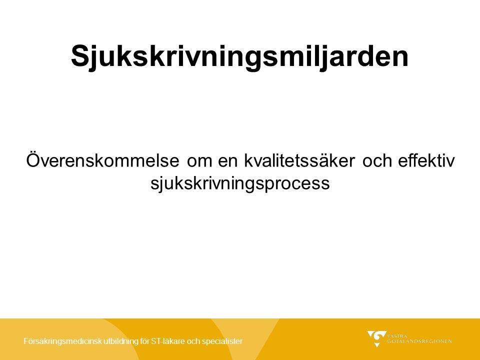 Försäkringsmedicinsk utbildning för ST-läkare och specialister Sjukskrivningsmiljarden Sjukskrivningsmiljarden är en överenskommelse mellan Sveriges Kommuner och Landsting (SKL) och regeringen, för utvecklingsarbeten i landstingen.