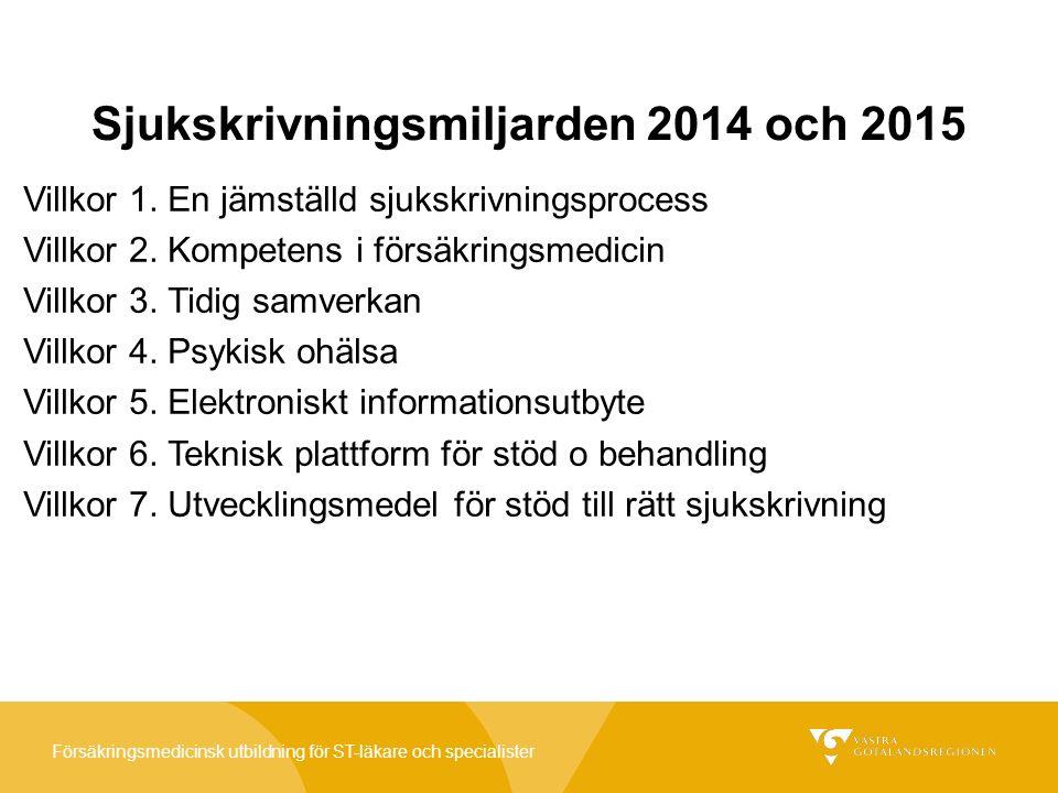 Försäkringsmedicinsk utbildning för ST-läkare och specialister Sjukskrivningsmiljarden 2014 och 2015 Villkor 1.