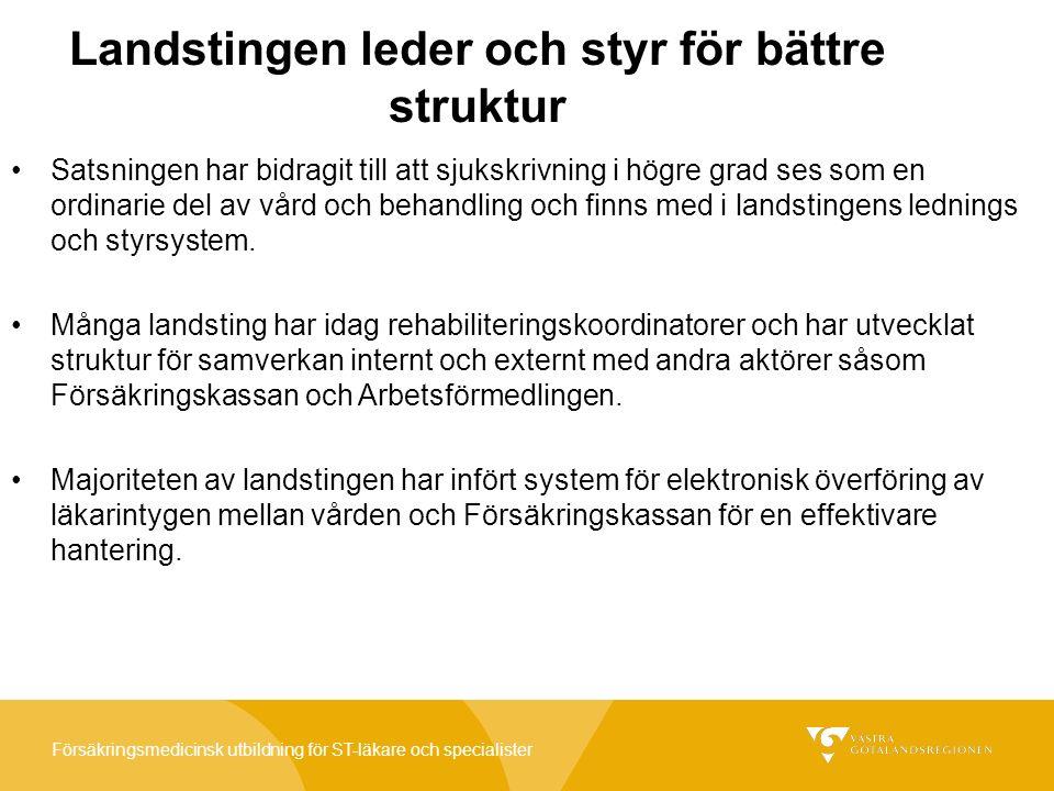 Försäkringsmedicinsk utbildning för ST-läkare och specialister Landstingen leder och styr för bättre struktur Satsningen har bidragit till att sjukskrivning i högre grad ses som en ordinarie del av vård och behandling och finns med i landstingens lednings och styrsystem.