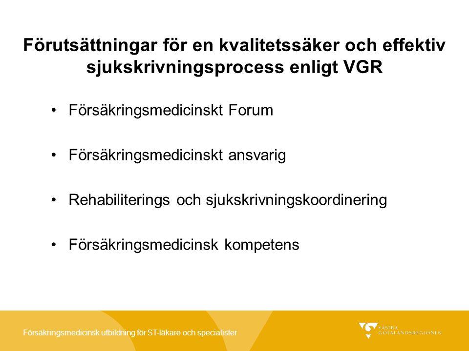 Försäkringsmedicinsk utbildning för ST-läkare och specialister VGR:s struktur för att garantera en kvalitetssäker och effektiv sjukskrivningsprocess Som stöd för vårdenheterna ska finnas: Processledare Försäkringsmedicinska forum (FMF) Rehabiliteringskoordinatorer Försäkringsmedicinskt ansvariga läkare på varje vårdenhet