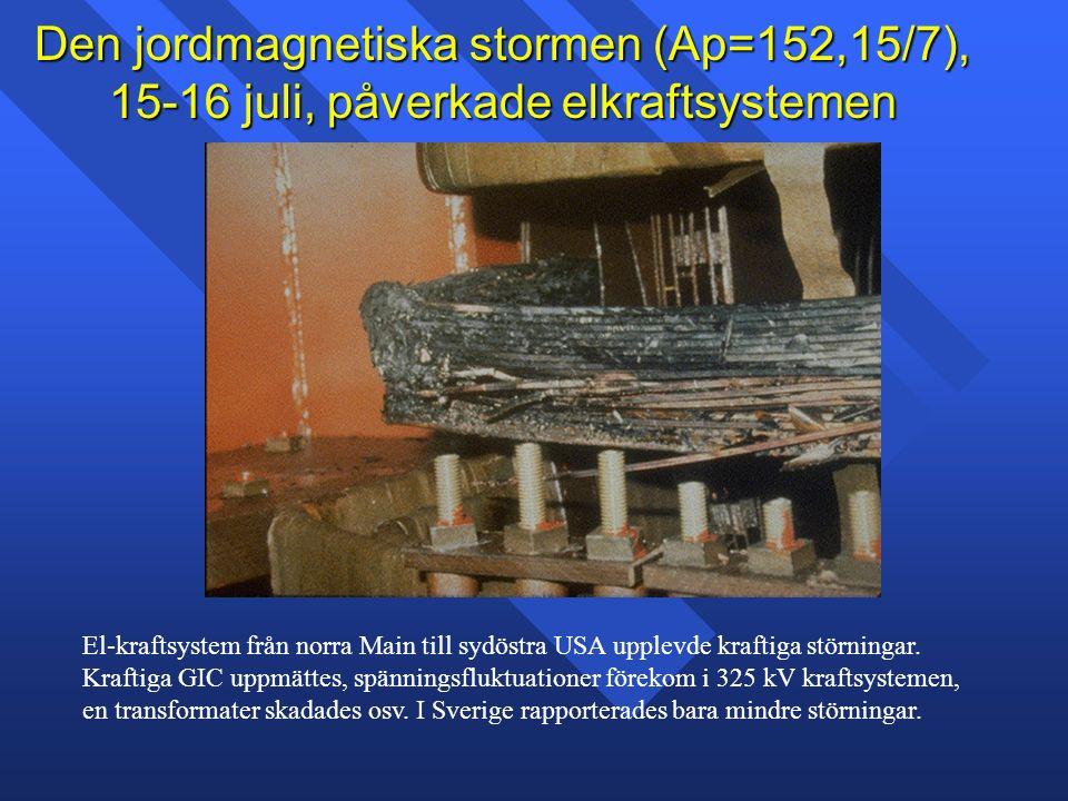 Den jordmagnetiska stormen (Ap=152,15/7), 15-16 juli, påverkade elkraftsystemen El-kraftsystem från norra Main till sydöstra USA upplevde kraftiga störningar.