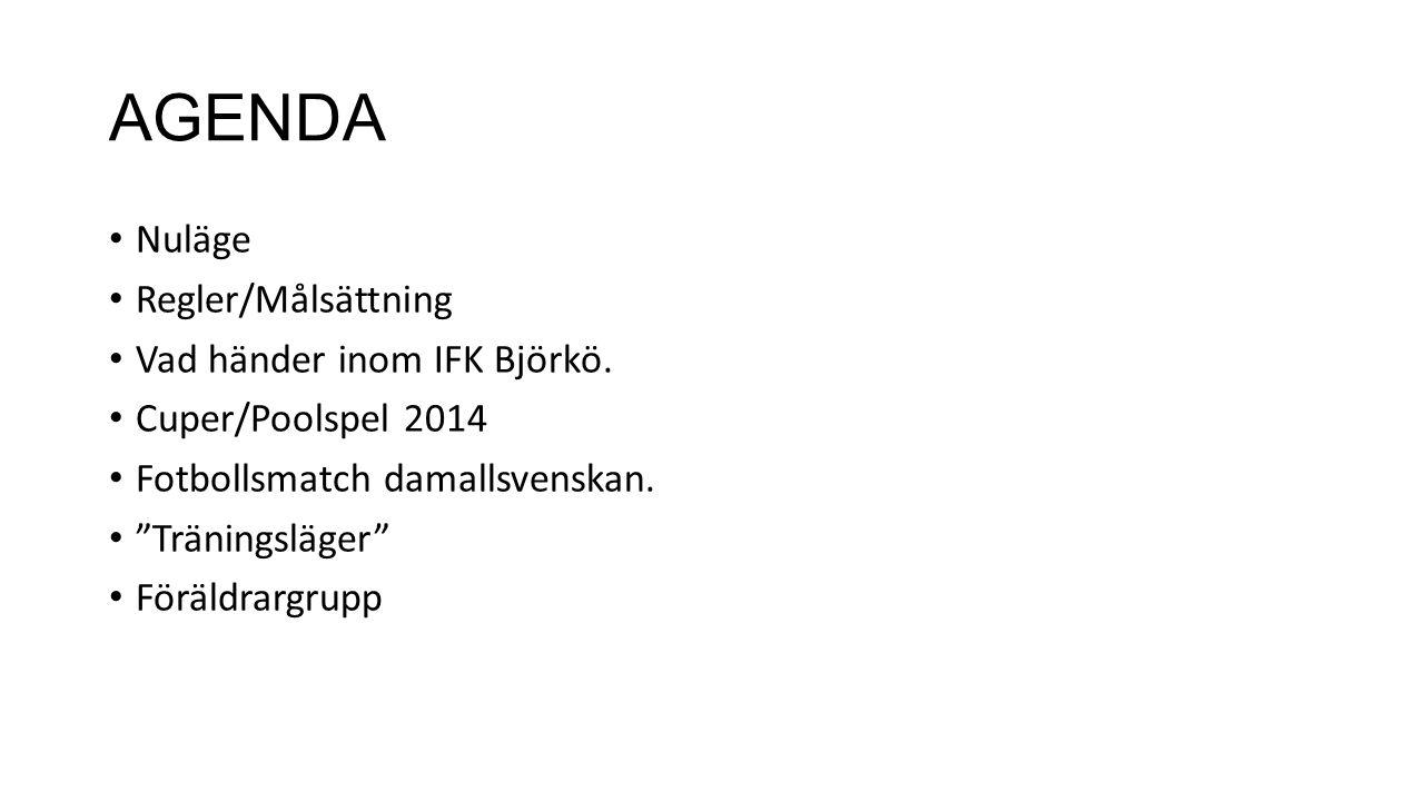 AGENDA Nuläge Regler/Målsättning Vad händer inom IFK Björkö.