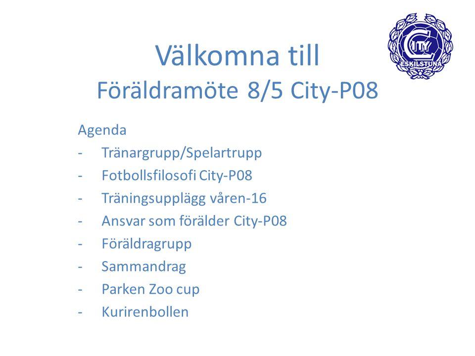 Välkomna till Föräldramöte 8/5 City-P08 Agenda -Tränargrupp/Spelartrupp -Fotbollsfilosofi City-P08 -Träningsupplägg våren-16 -Ansvar som förälder City-P08 -Föräldragrupp -Sammandrag -Parken Zoo cup -Kurirenbollen