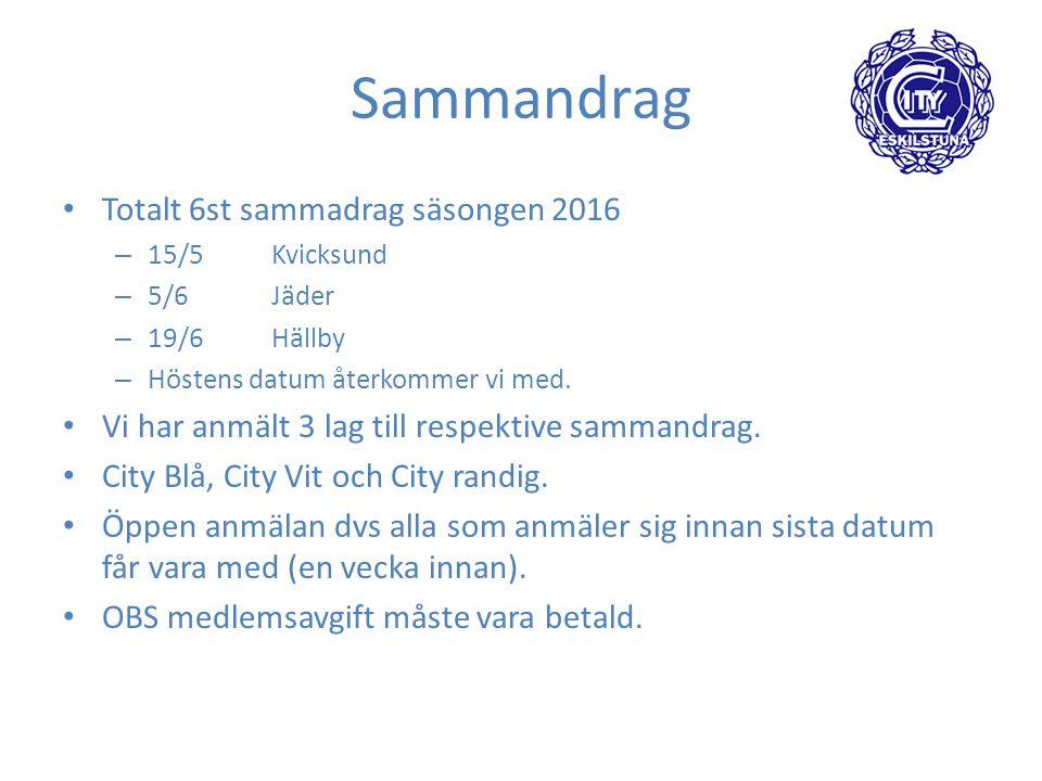Sammandrag Totalt 6st sammadrag säsongen 2016 – 15/5Kvicksund – 5/6Jäder – 19/6Hällby – Höstens datum återkommer vi med.