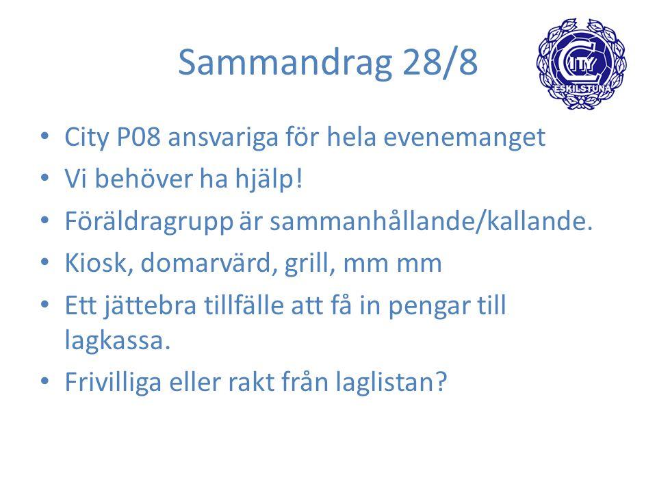 Sammandrag 28/8 City P08 ansvariga för hela evenemanget Vi behöver ha hjälp.
