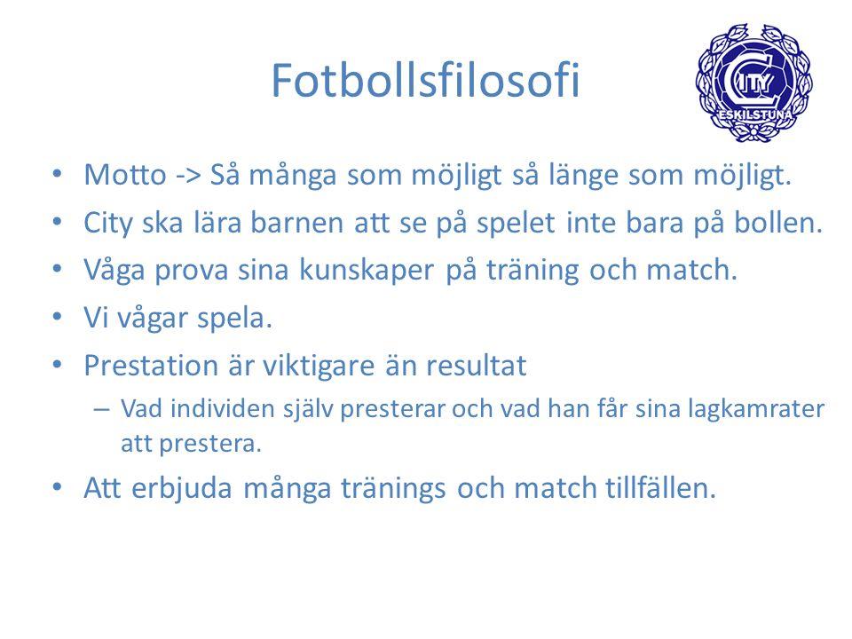Fotbollsfilosofi Motto -> Så många som möjligt så länge som möjligt.